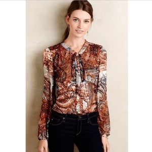 Anthropologie Meadow Rue Burnished Paisley Top